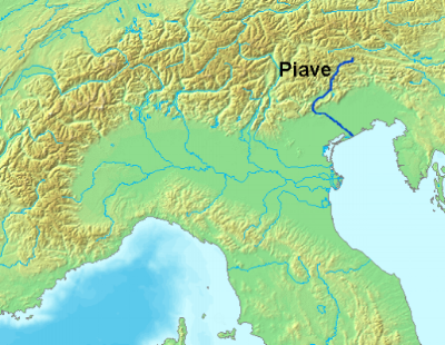The Piave River in Northern Italy which begins in the Alps and flows south into the Adriatic Sea.