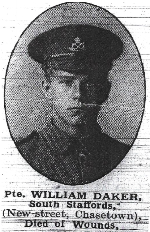 Photograph, from the Walsall Pioneer and District News, of Private William Daker dressed in the uniform of the South Staffordshire Regiment when he volunteered for service.
