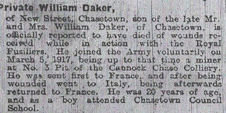 Newpaper report of Private William Daker's death from the Walsall Observer