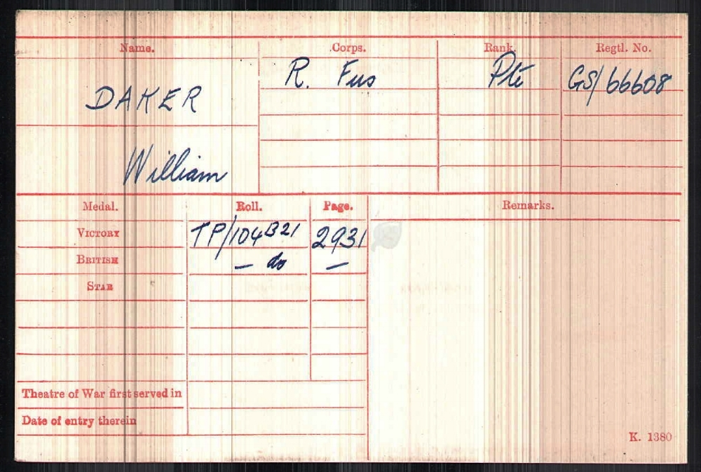 P rivate William Daker's medal roll card showing his Regimental and Campaign Medal details