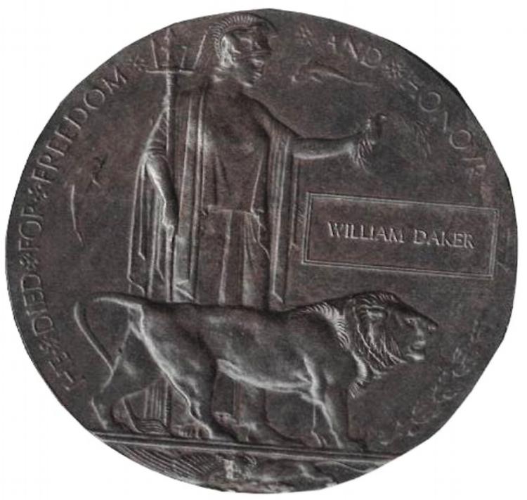 Private William Daker's memorial plaque