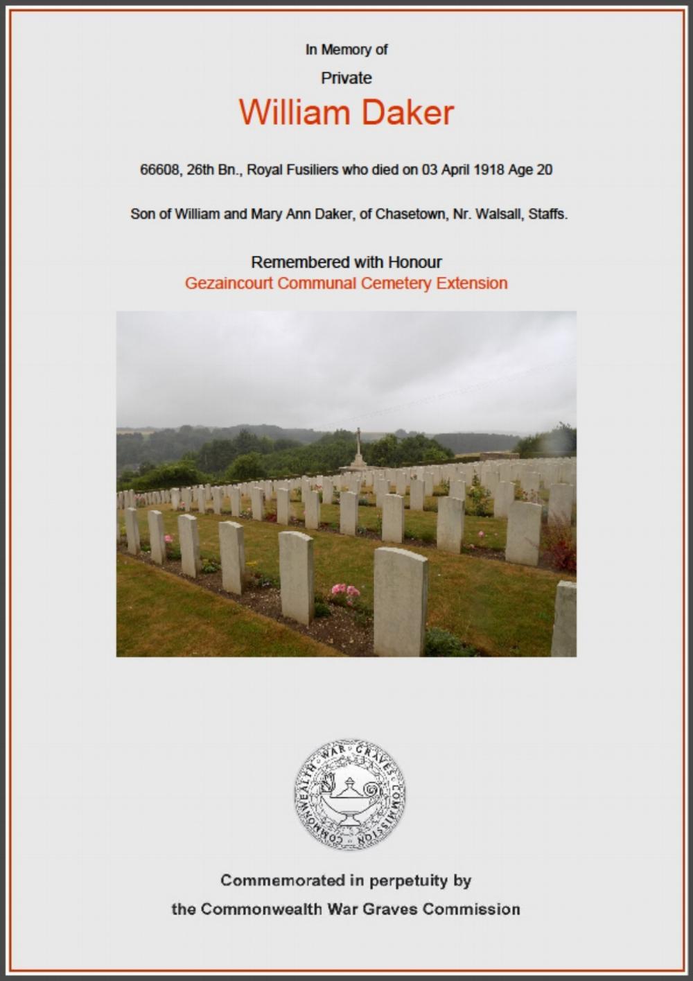 Commonwealth War Graves Commision Commemorative Certification for Private William Daker