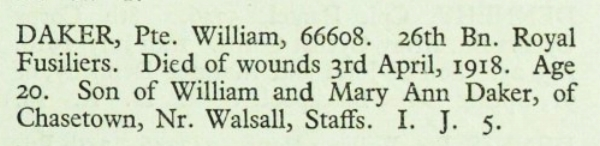 Extract from the Commonwealth War Graves Commissionm for Private William DakerExtract from the Commonwealth War Graves Commissionm for Private William Daker