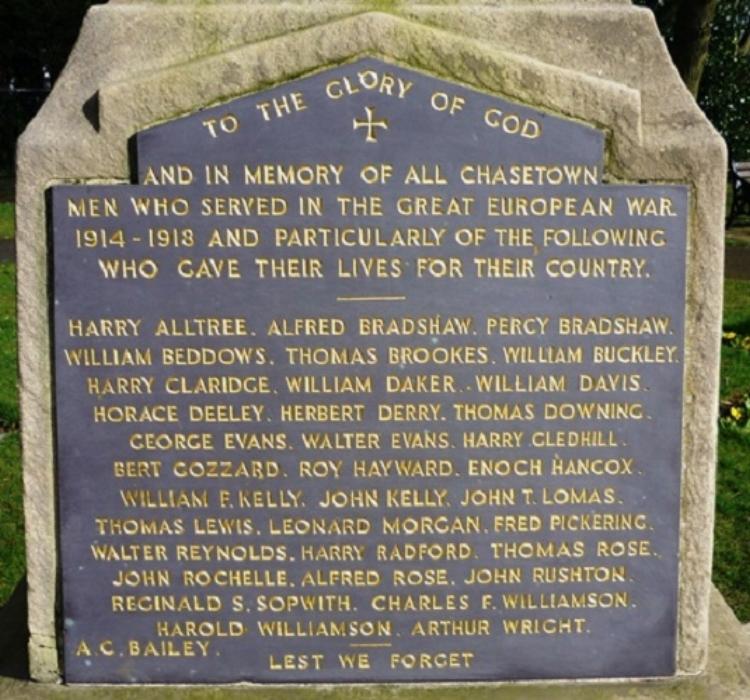 Panel on the War Memorial in Chasetown Memorial Park