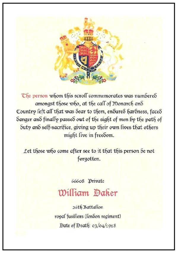 Scroll in honour of Private William Daker