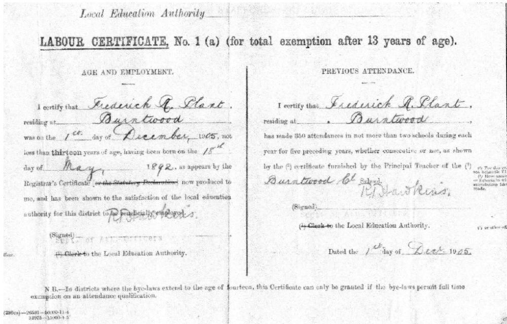 Frederick Plant's Labour Certificate