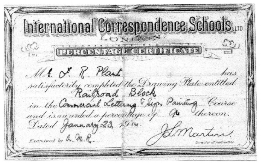 Frederick Plant's Percentage Certificate from the International Correspondence Schools