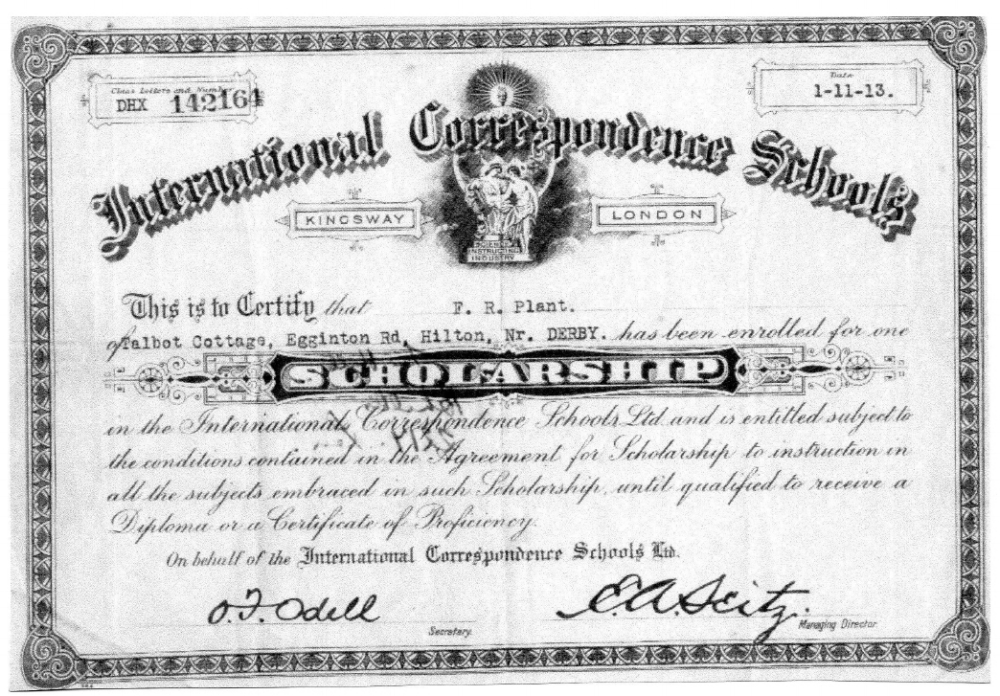 Frederick Plant's Scholarship Certificate from the International Correspondence Schools