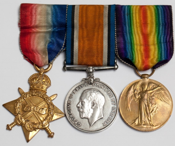 """""""Pip, Squeak and Wilfred"""", the 3 British campaign medals: on the left, the 1914-15 Star; in the centre, the British War Medal; and, on the right, the Victory Medal. The medals are always worn in this order."""