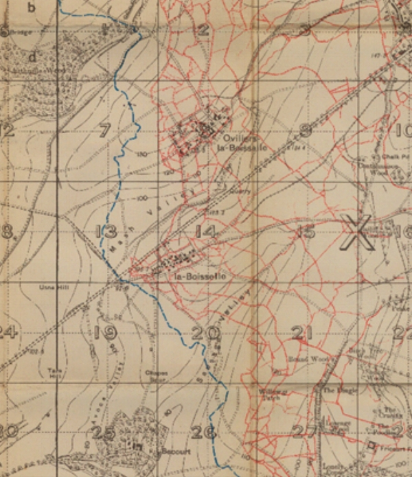 Extract from the 1916 British Trench Map 57D.SE.4 (Albert), scale 1:20,000 Edition 2D with trenches corrected to 15 August 1916