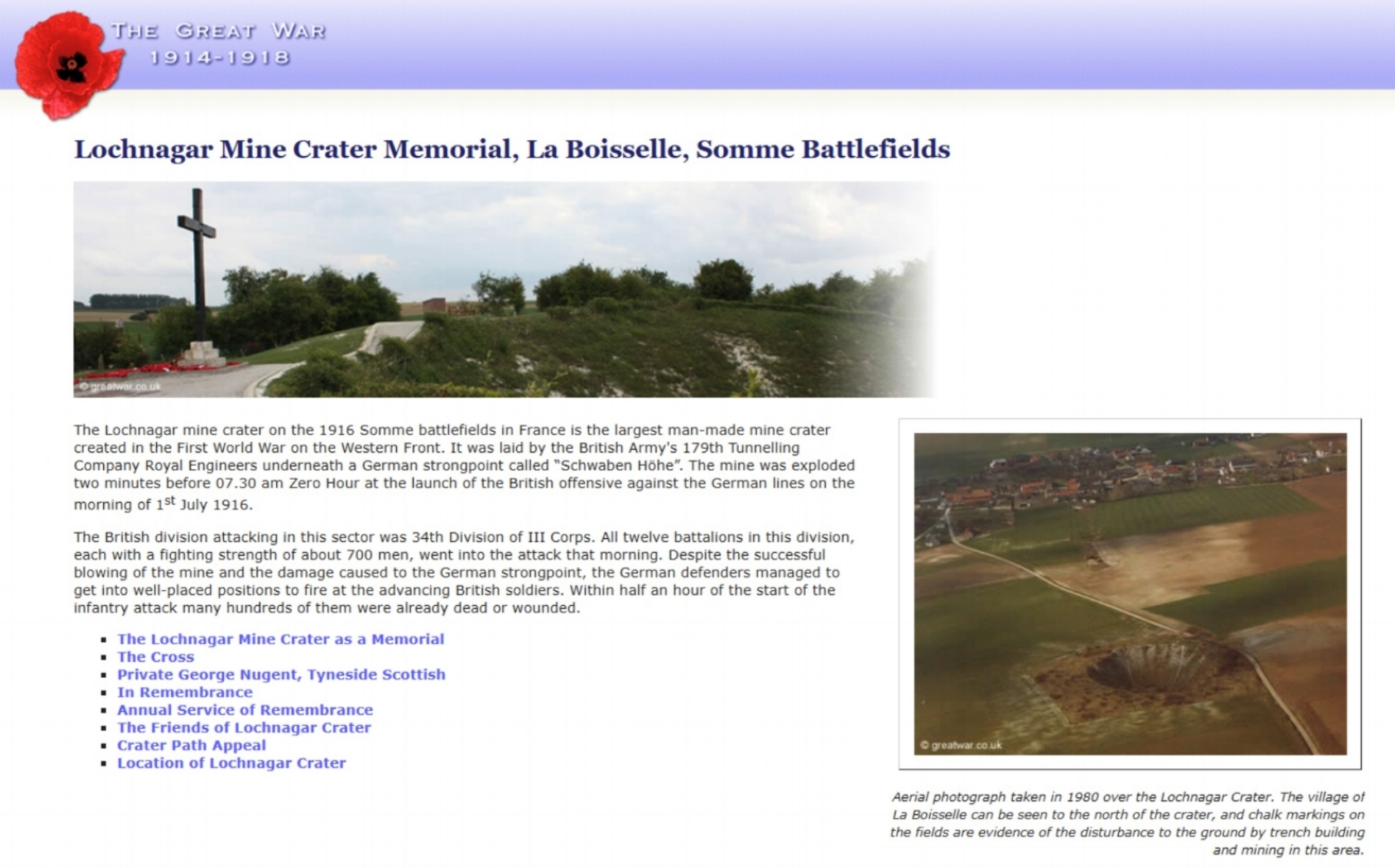 Extract from The Great War website for La Boisselle and the Lochnagar Crater