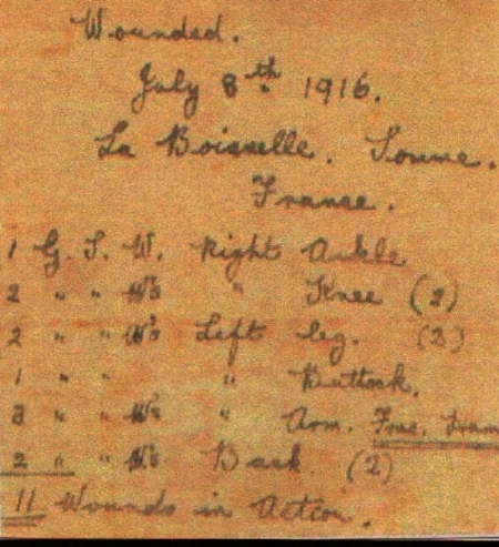 Details of the wounds sustained by Frederick Rhodes Plant