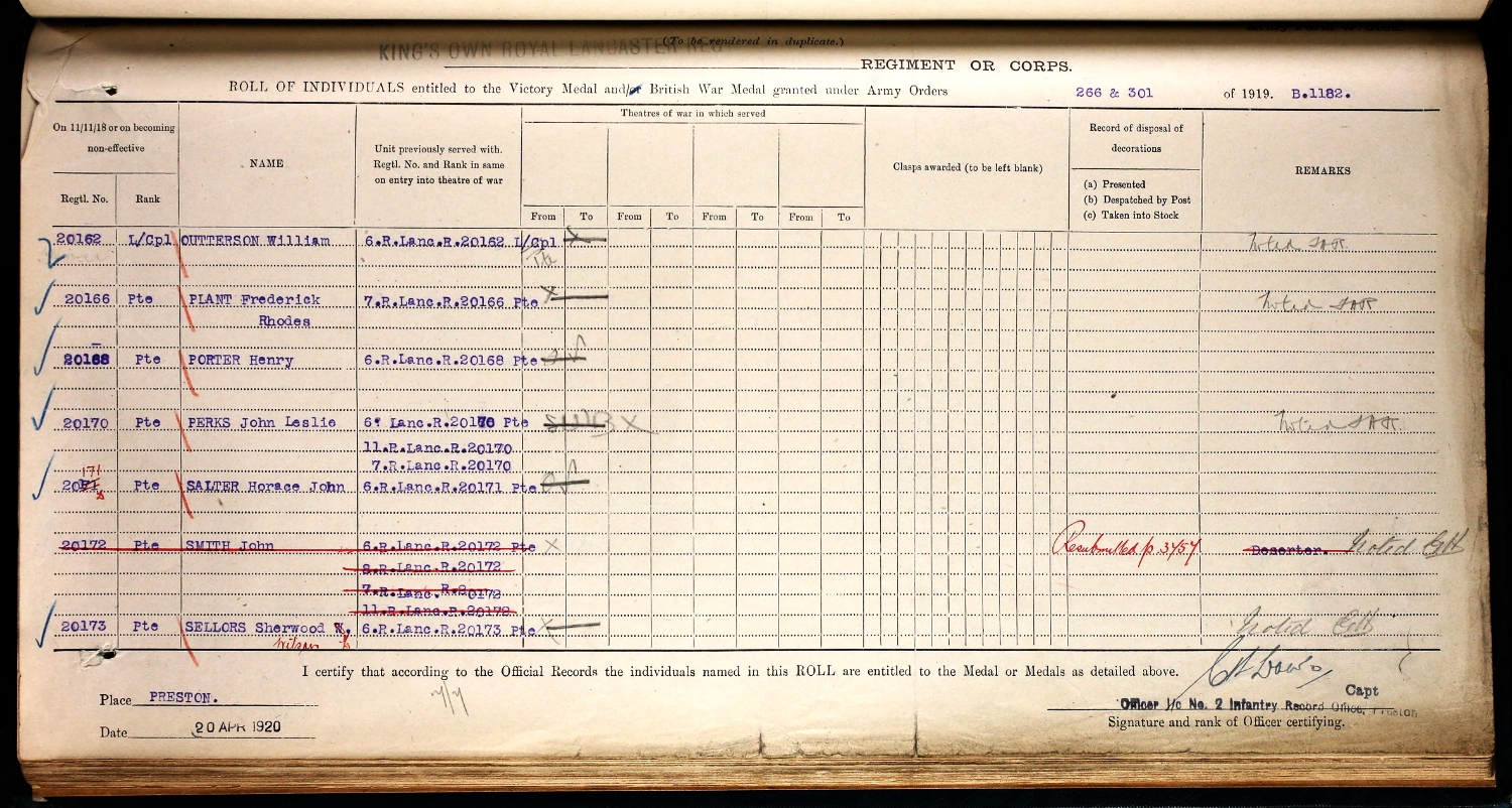 Medal roll for Frederick Rhodes Plant