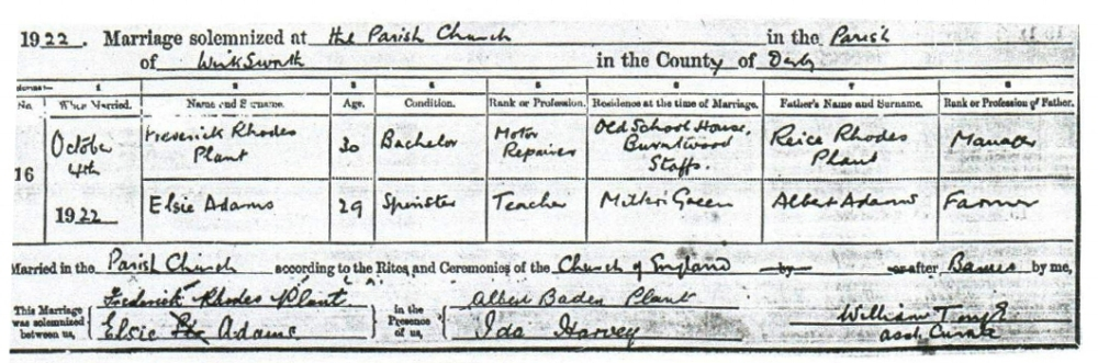 Marriage register entry for the wedding of Frederick Plant and Elsie Adams, 4 October 1922.