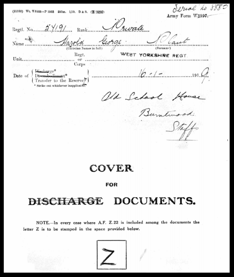 Cover for Harold George Plant's Discharge Documents 16 January 1919