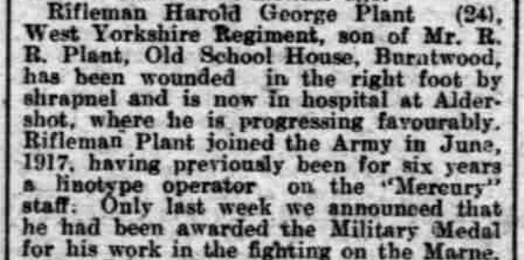 Extract Babout Harold George Plant from the Lichfield Mercury edition of 13 September 1918
