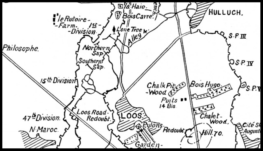 Map of a section of the Loos battlefield showing Chalk Pit Wood, Bois Hugo and Chalet Wood with the Lens-Hulluch road running alongside them. Hill 70 is to the south. The Loos-Hulluch road runs from the north of Loos to join the Lens-Hulluch road.