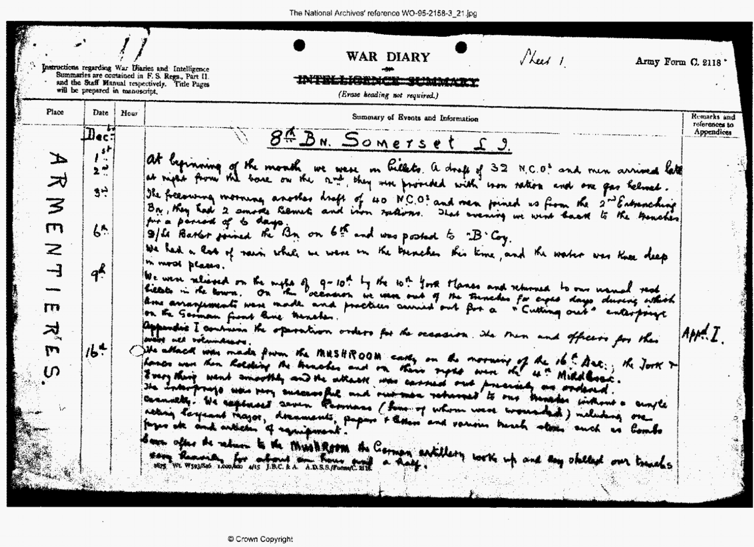 Extract from the War Diary of the 8th Battalion of the Somerset Light Infantry