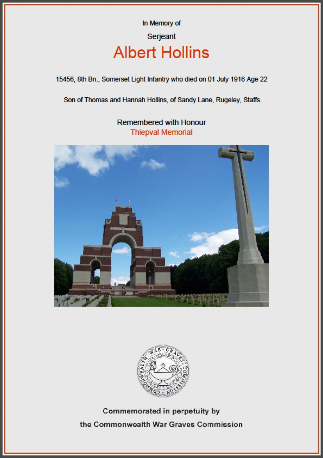 Commemorative certificate for 15456 Sergeant Albert Hollins of the 8th Battalion Somerset Light Infantry who died on 1 July 1916 at the age of 22.