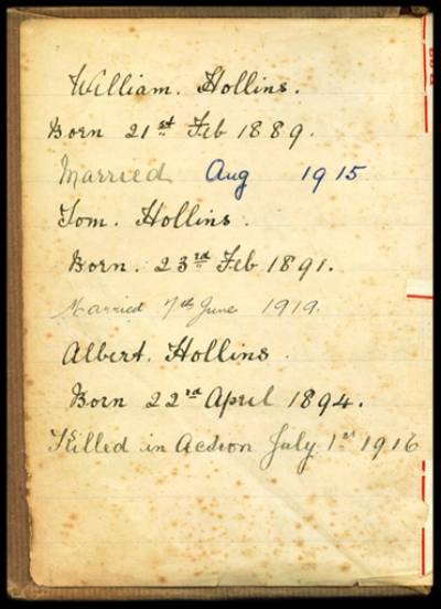 Page from the Family Bible, with information about the Hollins Family and the death of Albert Hollins.