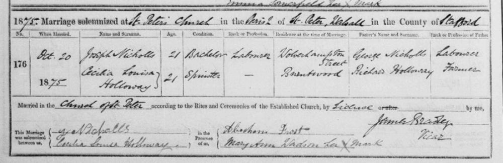 Extract from the Marriage Register for St. Peter's Church, Walsall showing the wedding in 1875 of Joseph Nicholls and Cecilia Louisa Holloway.