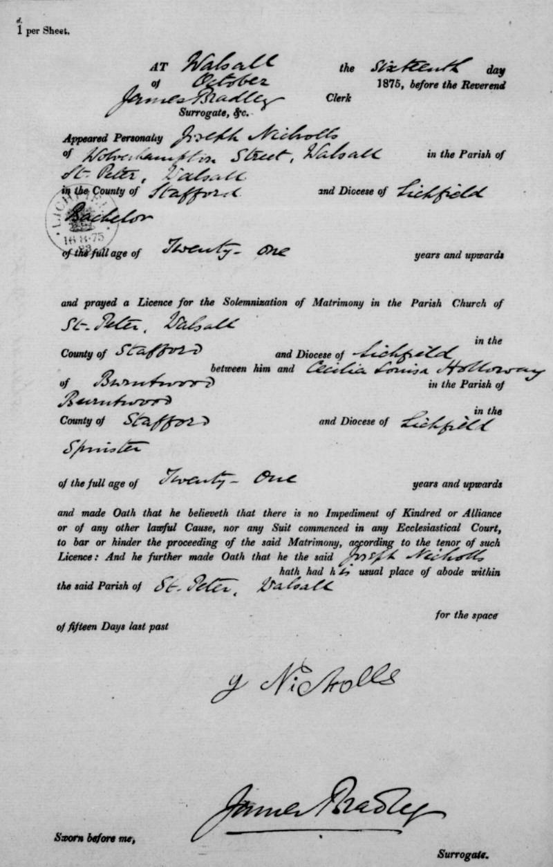 Marriage licence approval document from St. Peter's Church for Joseph Nicholls to marry Cecilia Louisa Holloway.