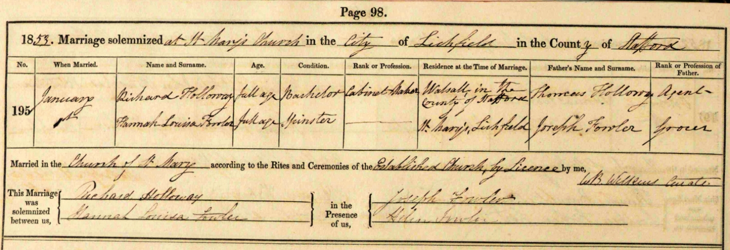 Extract from the St. Mary's Church, Lichfield, marriage records showing the marriage of Richard Holloway and Hannah Louisa Fowler in 1853.