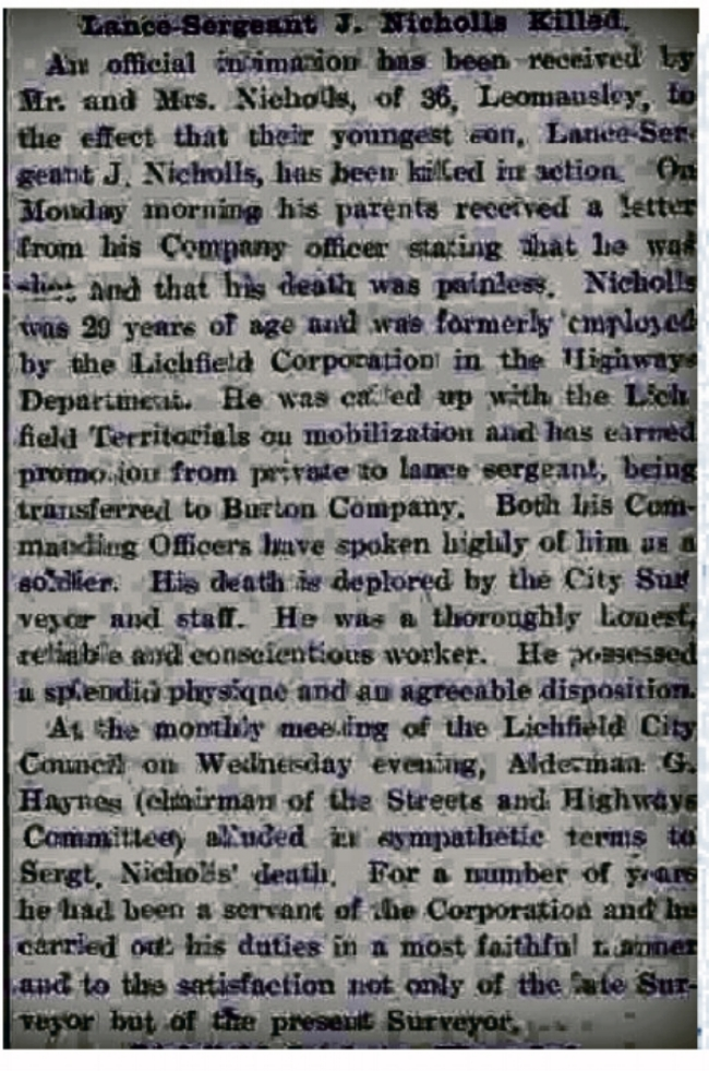 Extract from Lichfield Mercury 16 July 1915