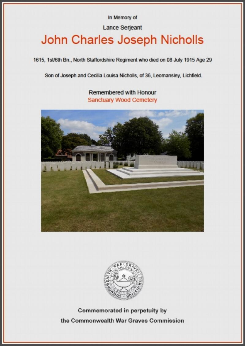 Commemoration certificate for Lance Sergeant John Charles Joseph Nicholls
