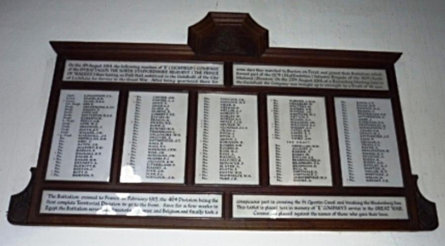 War memorial in the Guildhall, Lichfield
