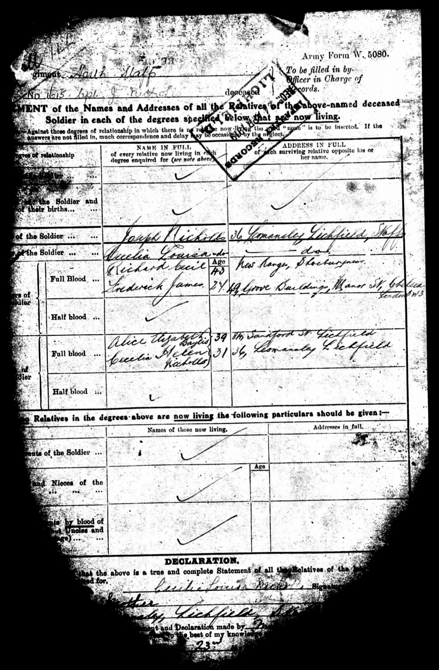 Statement of living relatives from the military record of John Charles Joseph Nicholls