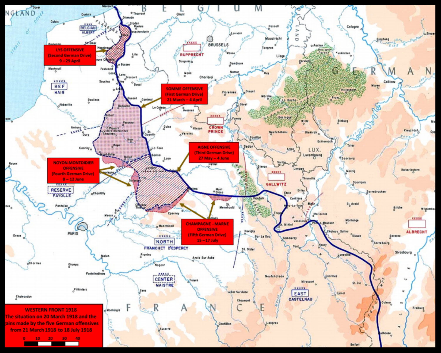 Map showing the territory gained during the German Spring Offensive of 1918