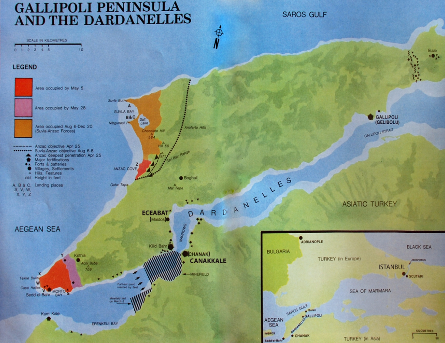 Key areas during the Gallipoli campaign 1915