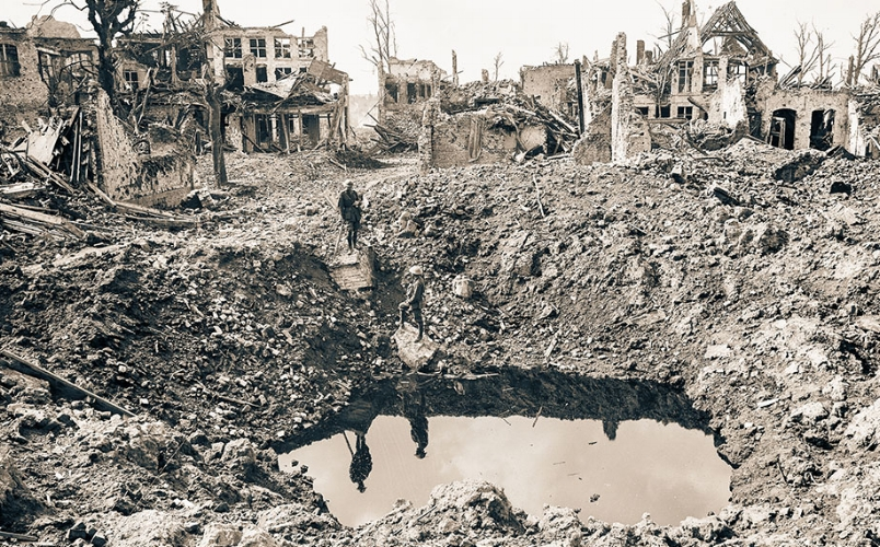 Gigantic shell crater, 75 yards in circumference, Ypres, 3 October, 1917.