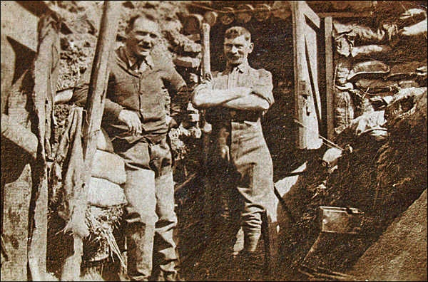 William Henry (Harry) Carter - on the right - in the trenches early in the 1914-18 war.