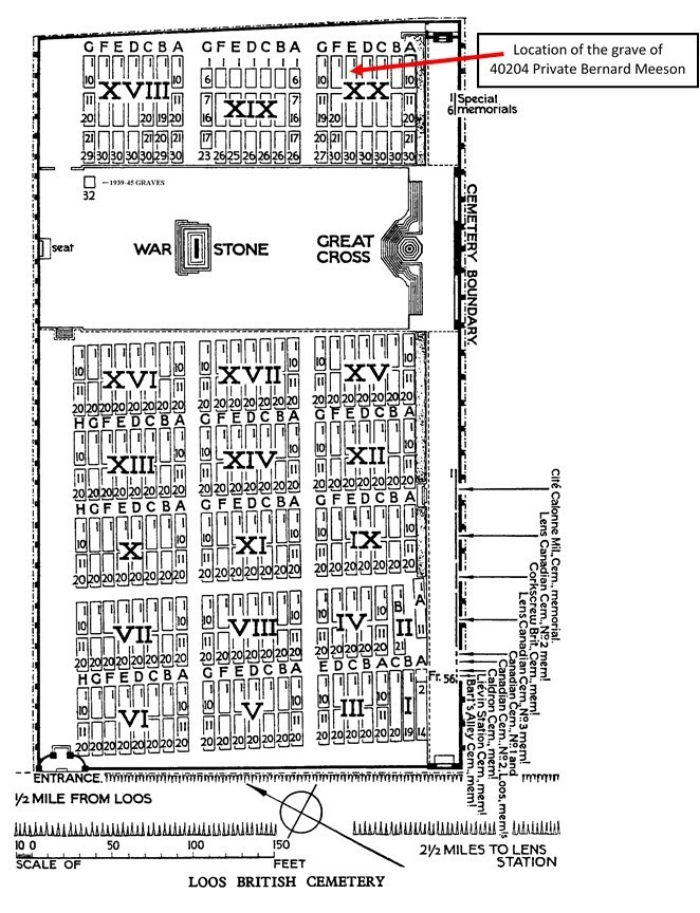 Plan of Loos British Cemetery showing the location of the grave of Private Bernard Meeson