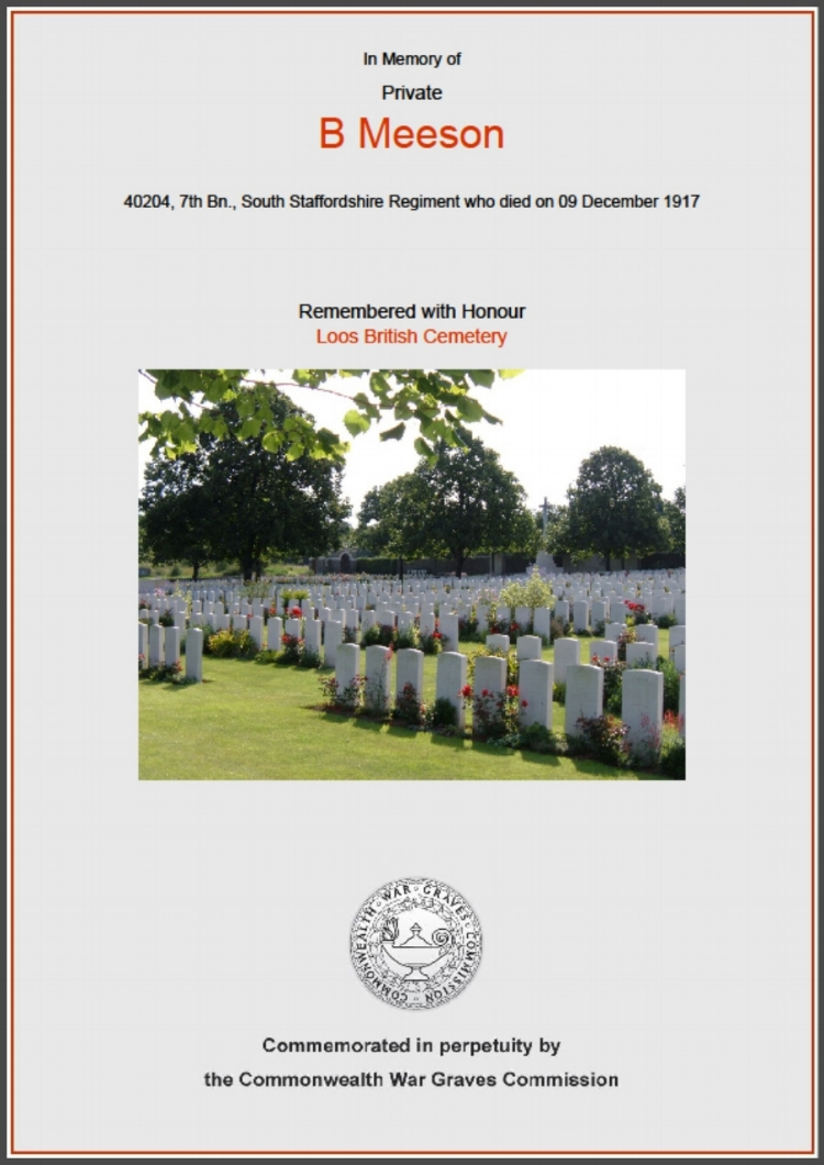 Commonwealth War Graves Commission certificate commemorating Private Bernard Meeson