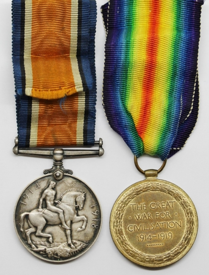 British War Medal reverse (left) and Victory Medal reverse (right)