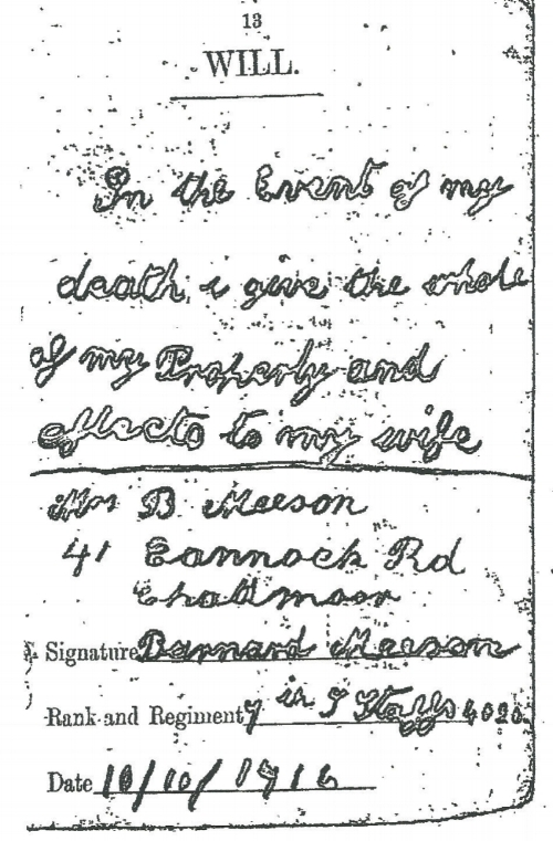 The will of Private Bernard Meeson
