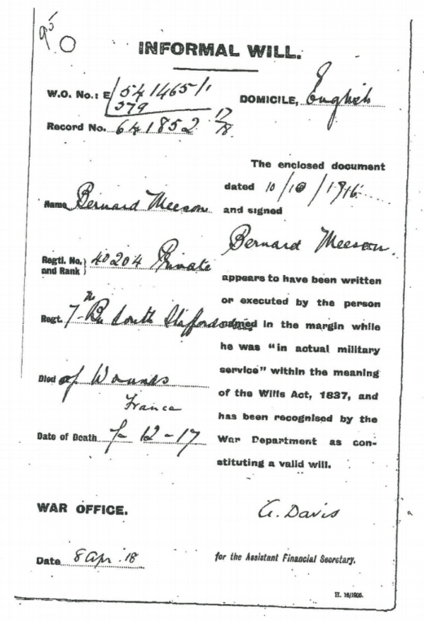 The informal will of Private Bernard Meeson