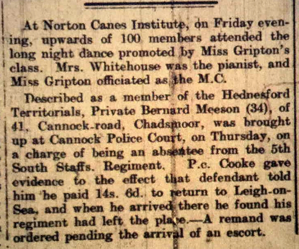 Report from the 22nd January 1916 edition of the Cannock Advertiser
