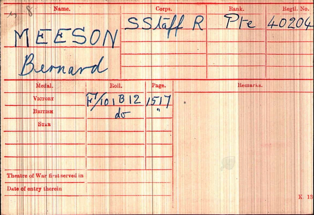 Medal card for Private Bernard Meeson