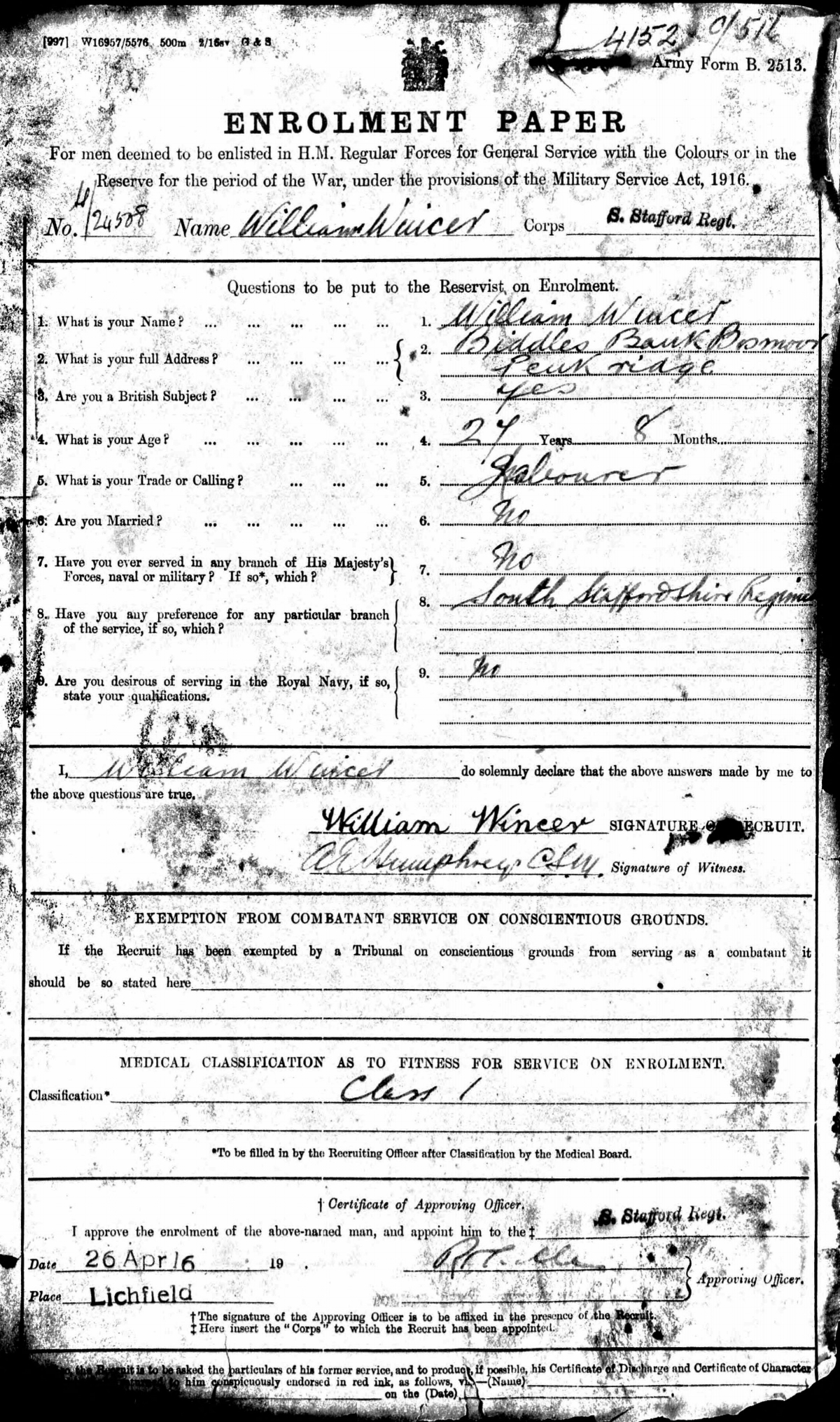 First page of the attestation papers for William Wincer
