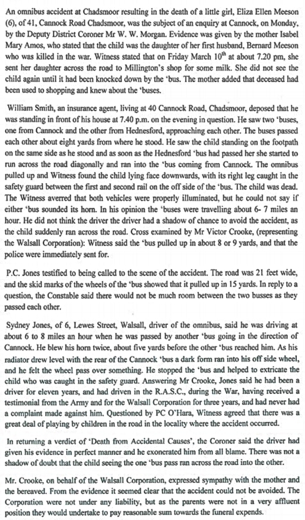 Transcript of The Cannock Advertiser report on the inquest into the death in a traffic accident of Bernard and Isabella's youngest daughter Eliza Ellen Meeson
