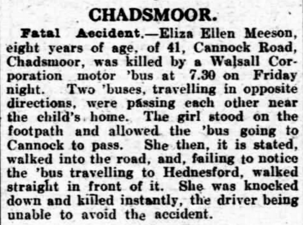 Report of the death of Bernard and Isabella Meeson's daughter Eliza in the 17th March 1922 edition of the Lichfield Mercury