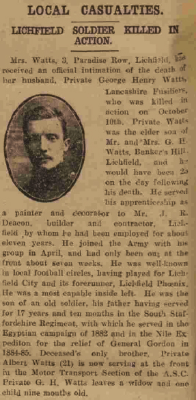Extract from the Lichfield Mercury edition of 3 November 1916