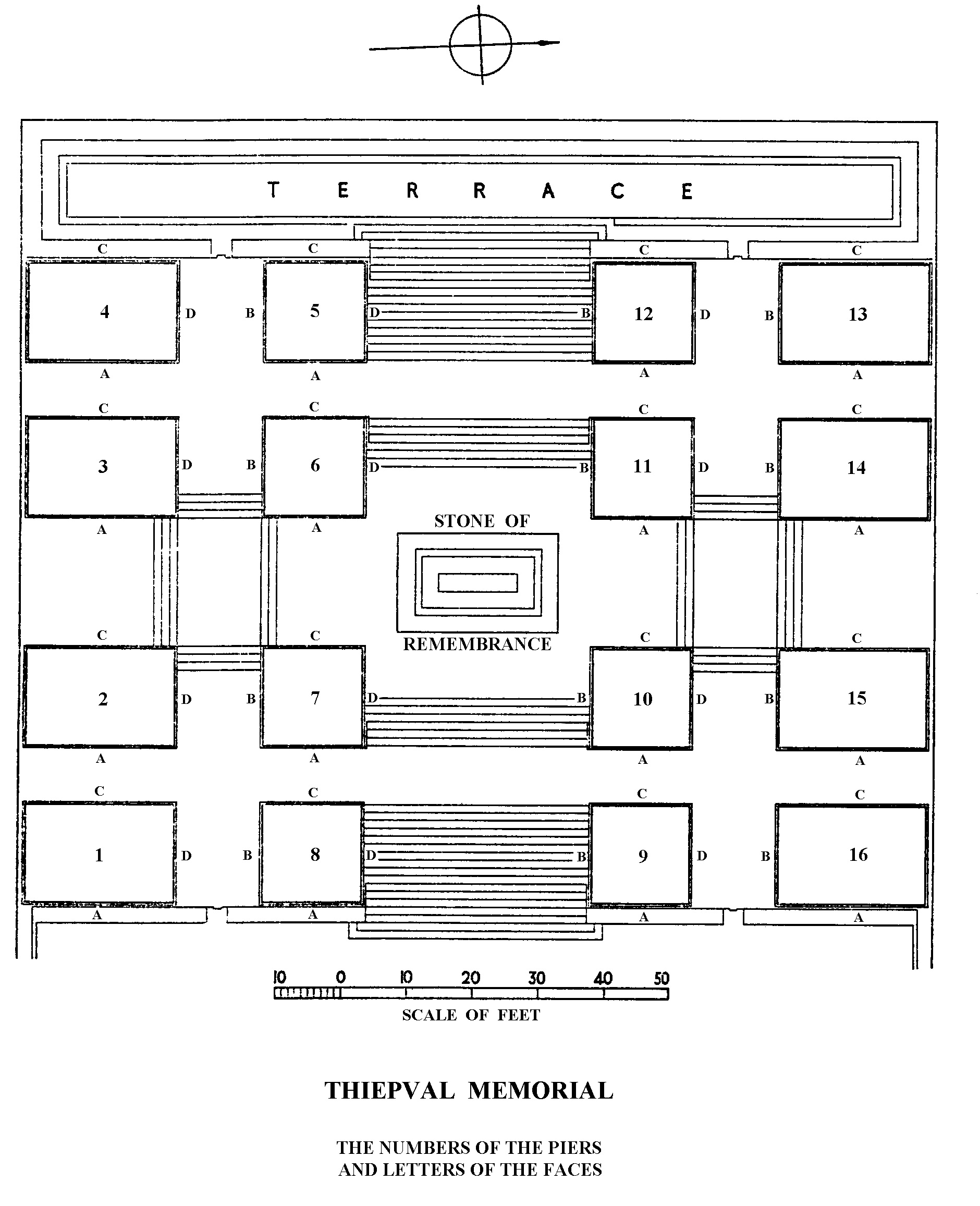 Plan of the Thiepval Memorial showing the location (Pier and Face 3C and 3D) where 37210 Private George Henry Watts is commemorated.