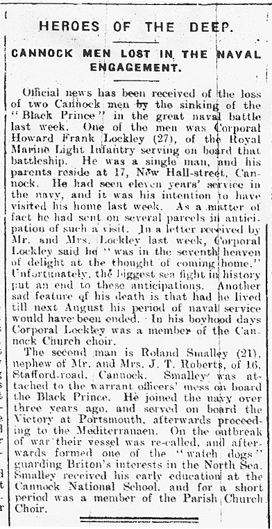 Extract from the 10 June 1916 edition of the Cannock Advertiser
