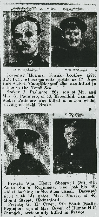 Extract from the 17 June 1916 edition of the Cannock Advertiser