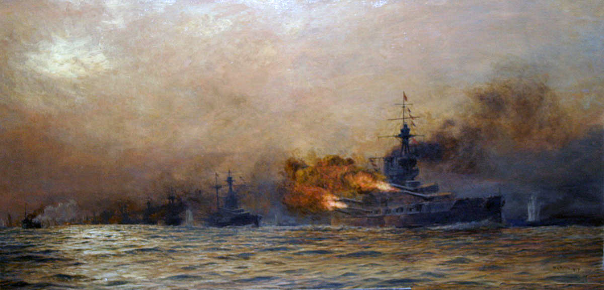 HMS Iron Duke, Admiral Jellicoe's flagship, opening fire at approximately 6.15pm on 31st May 1916 at the Battle of Jutland. Iron Duke is followed by other British Battleships. The ship on the extreme left of the picture is the disabled British destroyer HMS Acasta. Painting by William Lionel Wyllie